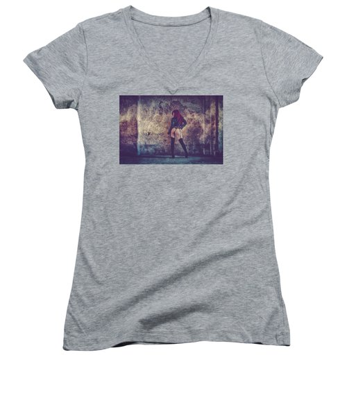 Women's V-Neck T-Shirt (Junior Cut) featuring the photograph Pretty Things Are Going To Hell by Traven Milovich