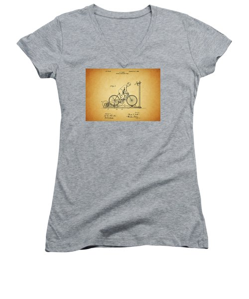 1900 Bicycle Exercise Stand Women's V-Neck T-Shirt (Junior Cut) by Dan Sproul