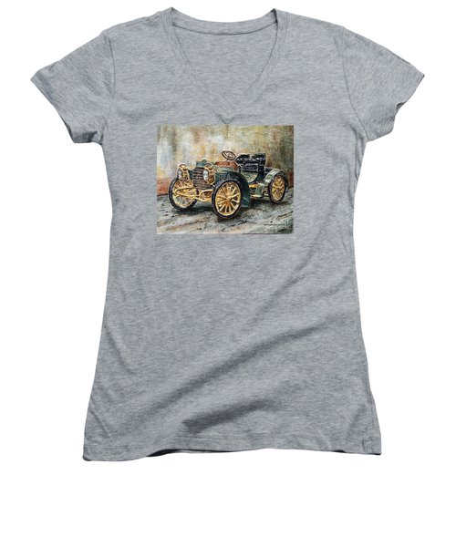 1901 Mercedes Benz Women's V-Neck T-Shirt (Junior Cut) by Joey Agbayani