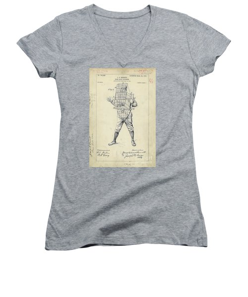 1904 Baseball Catcher Patent Women's V-Neck T-Shirt