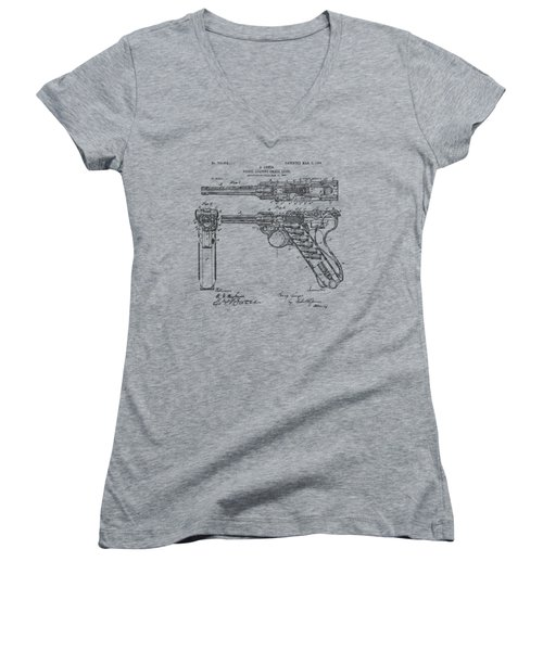 Women's V-Neck T-Shirt (Junior Cut) featuring the drawing 1904 Luger Recoil Loading Small Arms Patent - Vintage by Nikki Marie Smith