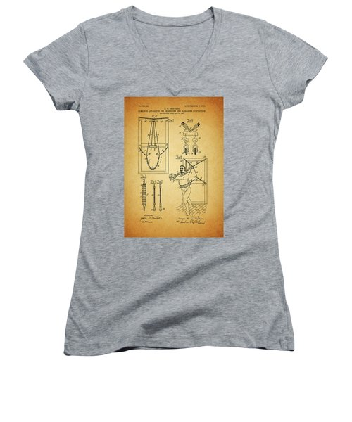 1905 Exercise Apparatus Patent Women's V-Neck T-Shirt (Junior Cut) by Dan Sproul