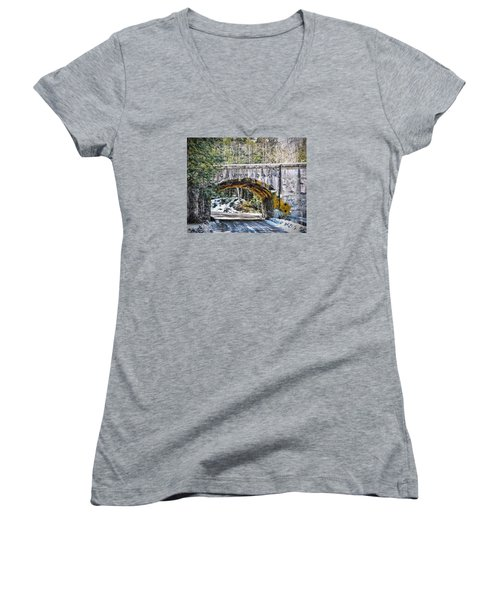 1909 Country Backroad Train Overpass Women's V-Neck (Athletic Fit)