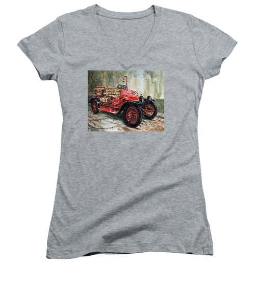 1912 Porsche Fire Truck Women's V-Neck T-Shirt (Junior Cut) by Joey Agbayani