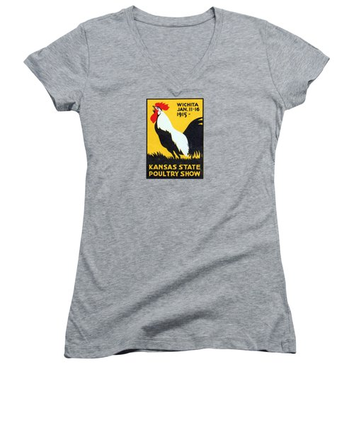 Women's V-Neck T-Shirt (Junior Cut) featuring the painting 1915 Kansas Poultry Fair by Historic Image