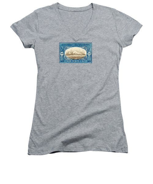 1920 Armenian Mount Ararat Stamp Women's V-Neck T-Shirt (Junior Cut) by Historic Image