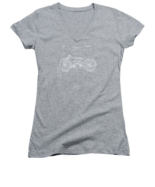 Women's V-Neck featuring the digital art 1924 Harley Motorcycle Patent Artwork Blueprint by Nikki Marie Smith