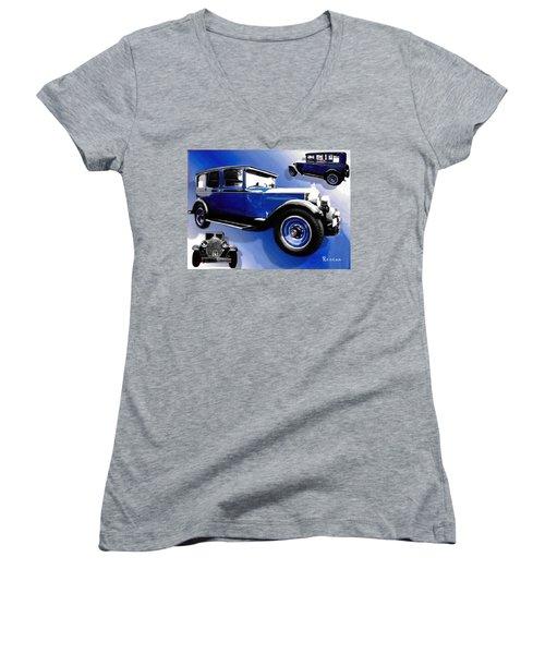 1927 Packard 526 Sedan Women's V-Neck T-Shirt (Junior Cut) by Sadie Reneau