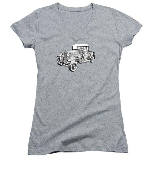 1930 Ford Model A Pickup Truck Illustration Women's V-Neck T-Shirt (Junior Cut) by Keith Webber Jr