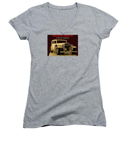 Women's V-Neck T-Shirt (Junior Cut) featuring the photograph 1932 Buick 4door Sedan by B Wayne Mullins