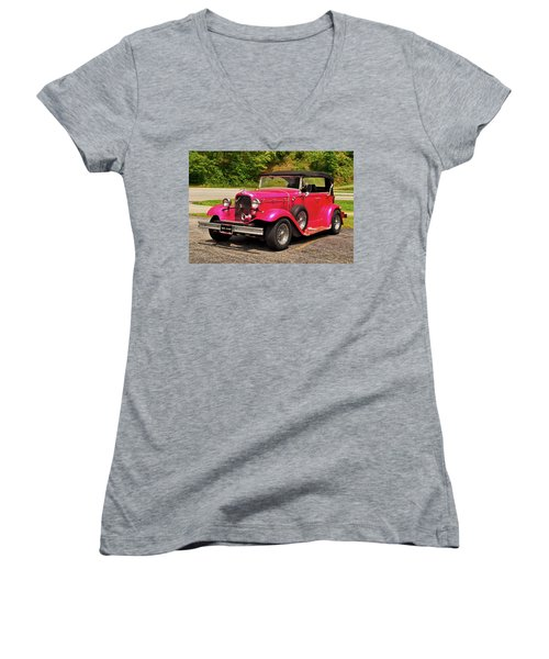 1932 Street Rod 001 Women's V-Neck T-Shirt (Junior Cut) by George Bostian