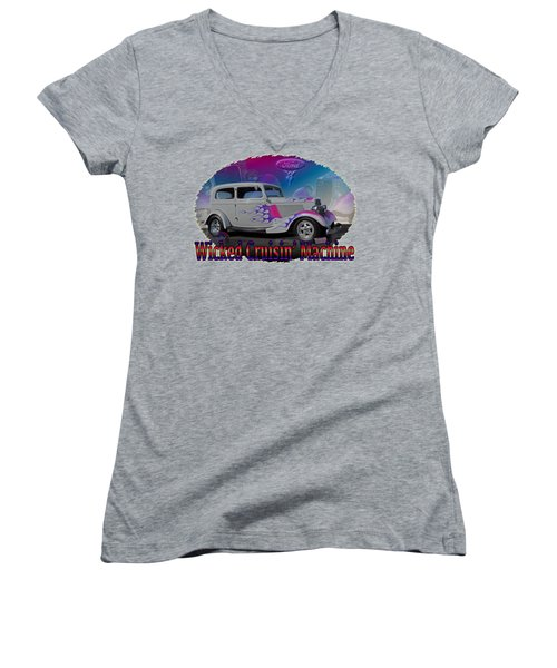 1934 Ford Delux Women's V-Neck T-Shirt