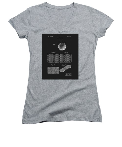 Women's V-Neck T-Shirt (Junior Cut) featuring the mixed media 1935 Tennis Ball Patent by Dan Sproul