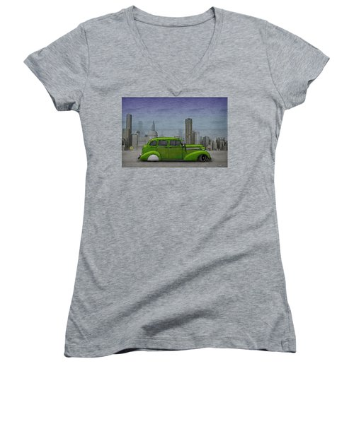 1936 Buick  Women's V-Neck T-Shirt (Junior Cut) by Ken Morris