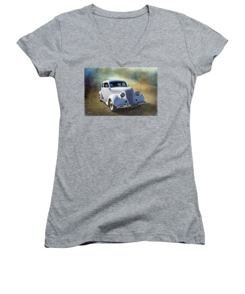 1936 Ford Women's V-Neck T-Shirt (Junior Cut) by Keith Hawley