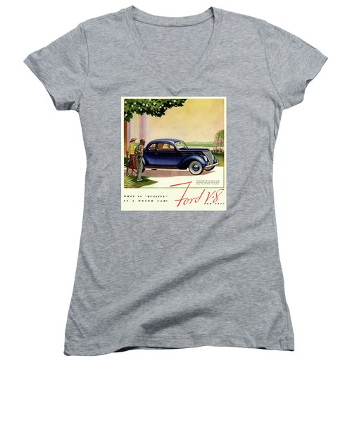 1937 Ford Car Ad Women's V-Neck (Athletic Fit)