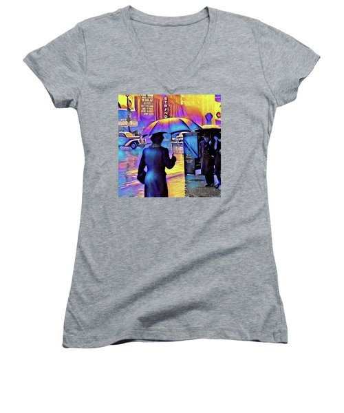 1940s Times Square Rain IIl Women's V-Neck (Athletic Fit)