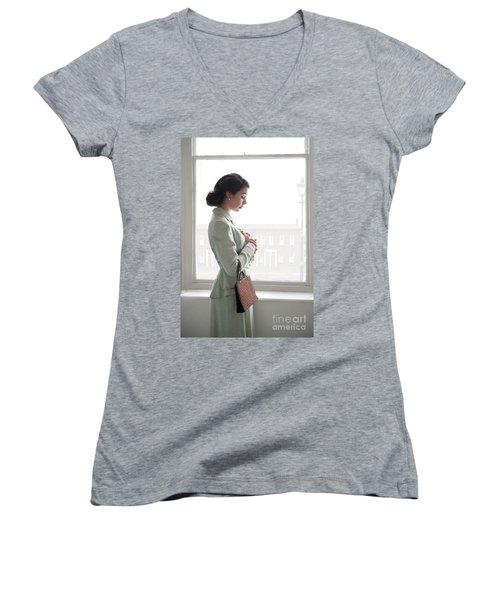 1940s Woman At The Window Women's V-Neck T-Shirt (Junior Cut) by Lee Avison