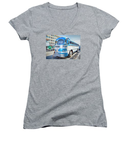 Women's V-Neck T-Shirt (Junior Cut) featuring the photograph 1946 Greyhound by Theresa Tahara