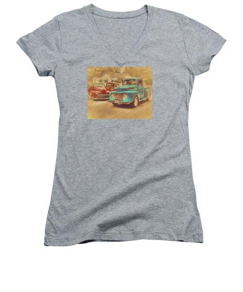 1950 Ford Truck Classic Cars - Homecoming Women's V-Neck T-Shirt (Junior Cut) by Rebecca Korpita