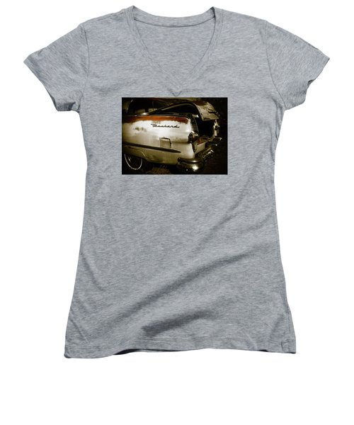 Women's V-Neck T-Shirt (Junior Cut) featuring the photograph 1950s Packard Trunk by Marilyn Hunt