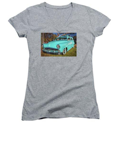 1951 Plymouth Suburban 2 Door Station Wagon 001 Women's V-Neck T-Shirt (Junior Cut) by Rich Franco