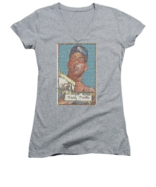 1952 Topps Mickey Mantle Rookie Card Mosaic Women's V-Neck T-Shirt