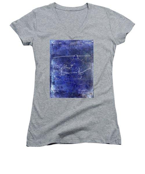 1953 Helicopter Patent Blue Women's V-Neck T-Shirt (Junior Cut) by Jon Neidert
