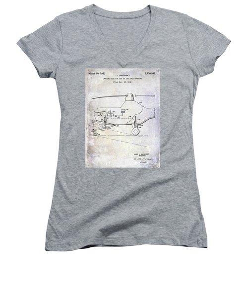 1953 Helicopter Patent Women's V-Neck T-Shirt (Junior Cut) by Jon Neidert