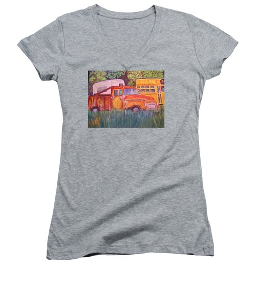 Women's V-Neck T-Shirt (Junior Cut) featuring the painting 1954 Gmc Wrecker Truck by Belinda Lawson