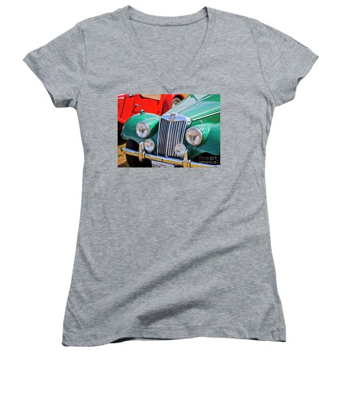 Women's V-Neck T-Shirt (Junior Cut) featuring the photograph 1954 Mg Tf Sports Car by Chris Dutton