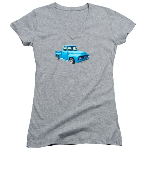 1955 Ford F100 Blue Pickup Truck Canvas Women's V-Neck T-Shirt (Junior Cut) by Keith Webber Jr