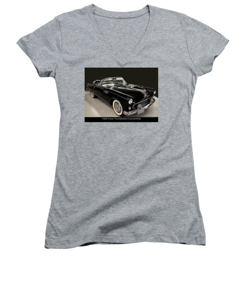 1955 Ford Thunderbird Convertible Women's V-Neck T-Shirt