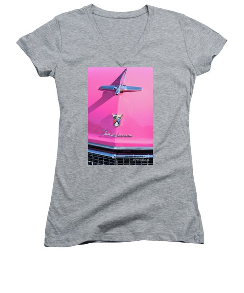 1955 Pink Ford Fairlane Hood Ornament Women's V-Neck (Athletic Fit)