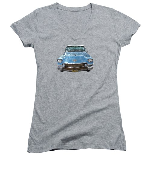 Women's V-Neck T-Shirt (Junior Cut) featuring the photograph 1956 Cadillac Cutout by Linda Phelps