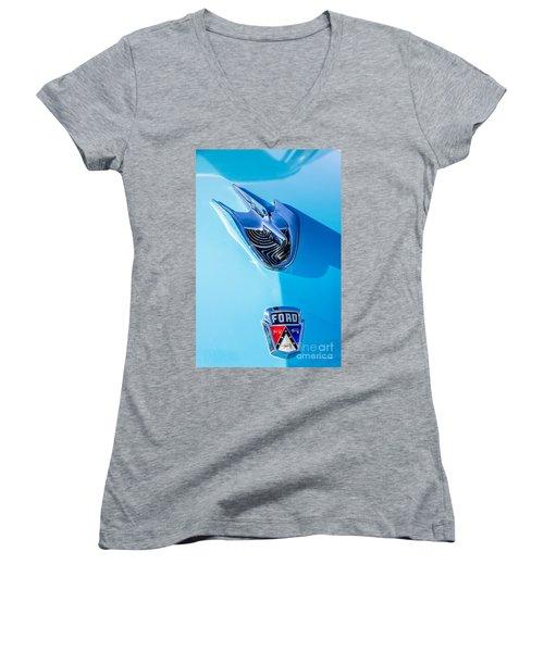 Women's V-Neck T-Shirt (Junior Cut) featuring the photograph 1956 Ford Hood Ornament by Aloha Art
