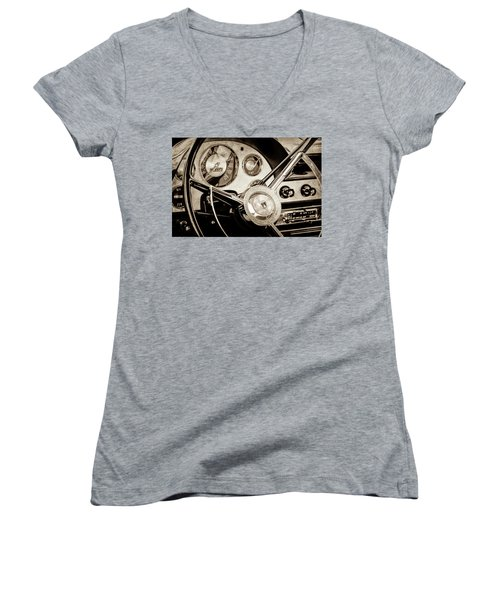 Women's V-Neck T-Shirt (Junior Cut) featuring the photograph 1956 Ford Victoria Steering Wheel -0461s by Jill Reger