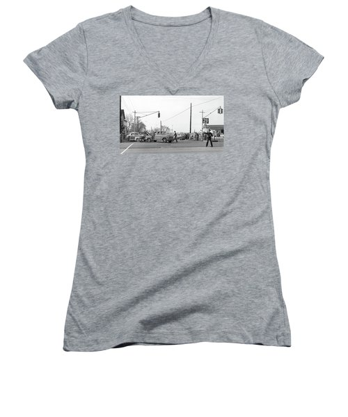 1957 Car Accident Women's V-Neck T-Shirt (Junior Cut) by Paul Seymour
