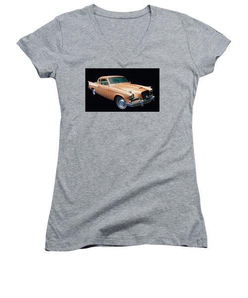 1957 Studebaker Golden Hawk Digital Oil Women's V-Neck