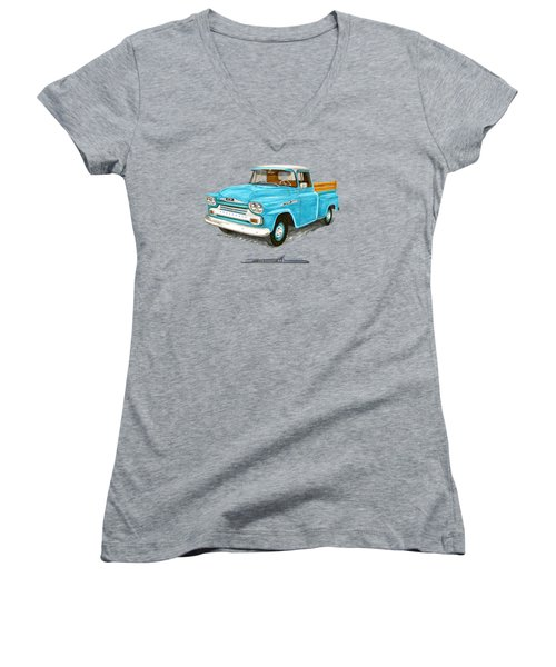 1958 Apache Pick Up Truck Women's V-Neck T-Shirt