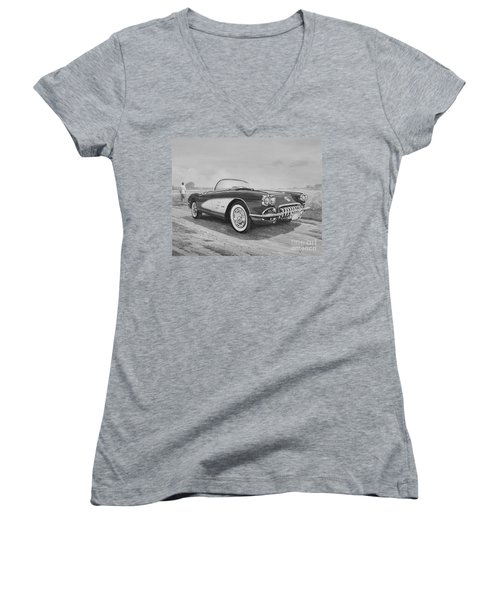 1959 Chevrolet Corvette Cabriolet In Black And White Women's V-Neck