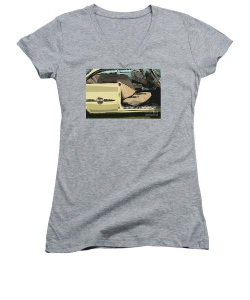 Women's V-Neck T-Shirt (Junior Cut) featuring the photograph 1960 Chrysler 300-f  Muscle Car by David Zanzinger