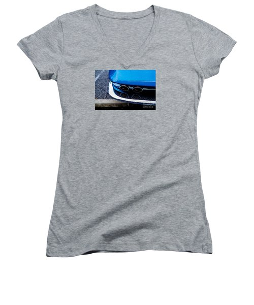 Women's V-Neck T-Shirt (Junior Cut) featuring the photograph 1965 Corvette Sting Ray by M G Whittingham