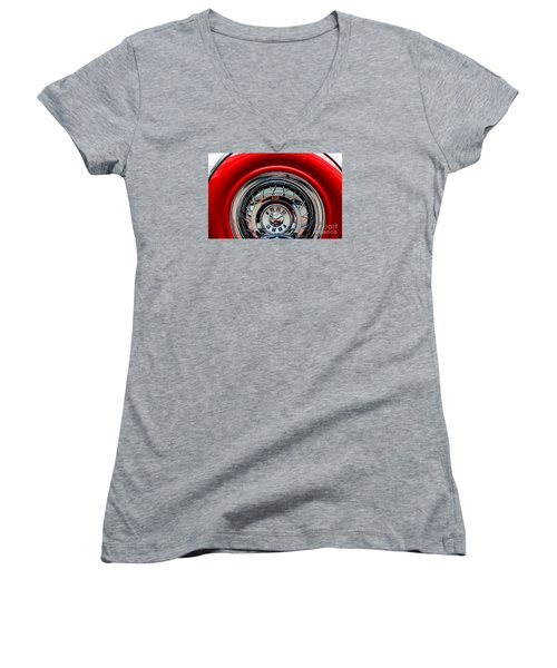 Women's V-Neck T-Shirt (Junior Cut) featuring the photograph 1958 Ford Crown Victoria Wheel by M G Whittingham