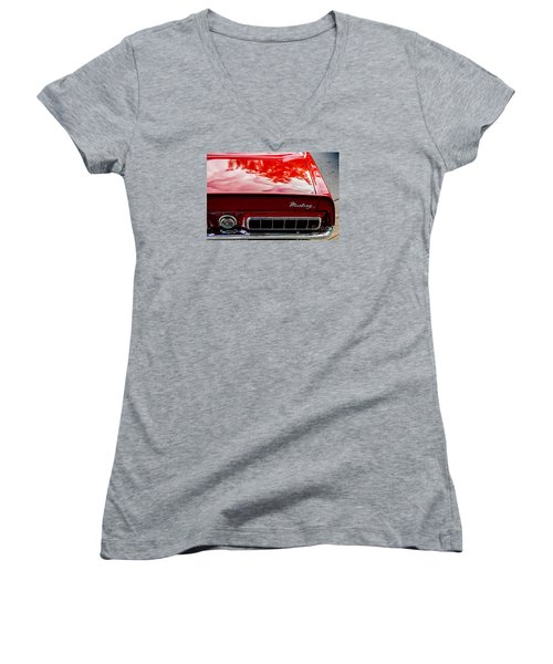 Women's V-Neck T-Shirt (Junior Cut) featuring the photograph 1967 Mustang by M G Whittingham