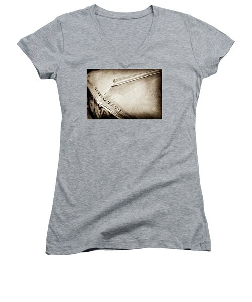 Women's V-Neck T-Shirt (Junior Cut) featuring the photograph 1962 Oldsmobile Hood Ornament And Emblem -0598s by Jill Reger