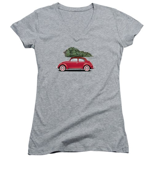 1962 Volkswagen Deluxe Sedan - Ruby Red W/ Christmas Tree Women's V-Neck T-Shirt (Junior Cut) by Ed Jackson