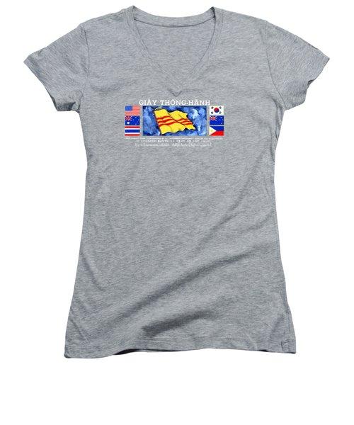1968 Vietnam War Safe Conduct Pass Women's V-Neck T-Shirt