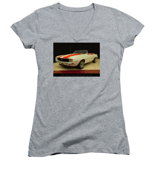 1969 Chevy Camaro Rs/ss Indy Pace Car Women's V-Neck