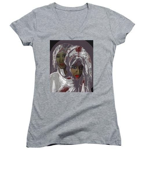 Women's V-Neck T-Shirt (Junior Cut) featuring the digital art 1969 -  White Veils by Irmgard Schoendorf Welch